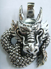 ORIENTAL CHINA FIRE DRAGON HEAD 925 STERLING SILVER PENDANT CHARM NECKLACE