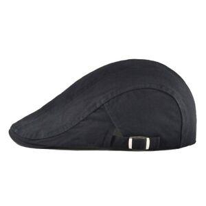 Casquette plate béret homme printemps été réglable TU beret rétro COTON NOIR FR