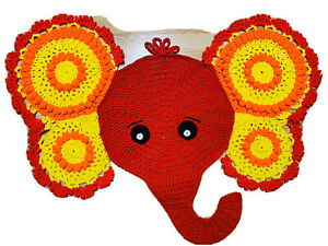 Elephant Rug Mat Crochet Nursery Baby Decor Jungle RED YELLOW_NEW-Handmade