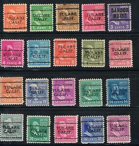 Precancels  U.S. #803-831 Prexies 1938 Set of 20 Precancels-Tulare, Bangor.  s/s