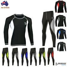 Mens Compression Tight Pants + Shirt Base Layer Skin Fit Yoga Gym Running Tights