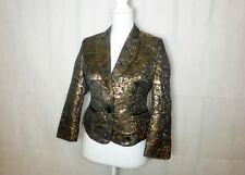 GLAMOROUS Zigga Women's Shiny Black & Gold Floral Party Jacket Coat Suit Blazer