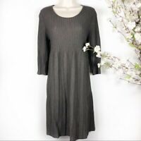 NWOT Eileen Fisher Washable Wool Scoop-Neck Dress in Brown Size S
