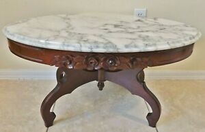 Antique/Vtg VICTORIAN FURN CO Carved ROSES Mahogany Wood Marble Top Coffee Table