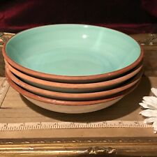 "4 Furio Pasts/Soup Bowls Green w/ Brown Edge 8 1/2"" Italy"