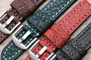 Genuine Leather Embossed Pebbled Texture Thick Flexible Watchband Durable Stitch