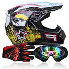 Motorcycle DOT Off-Road ATV Dirt Biker Gear Motocross Full Face Helmets S/M/L/XL