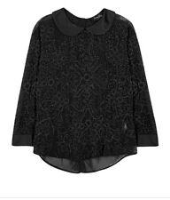 NWT Jenny Packham Black Embellished SZ 12 US 8 Chiffon Crystal Bead Blouse $2725