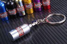 NOS Bottle Tank Nitrous Oxide Keyring Keyfob Keychain Metal Turbo Mini Pill Silv