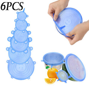 6pcs Reusable Smiley Silicone Stretch Bowl Cover Seal Kitchen Keep Food Fresh RC