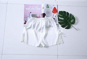 Women Anti-Static Satin Bloomer Slip Pettipants Lace Hem Shorts Loose Lingerie