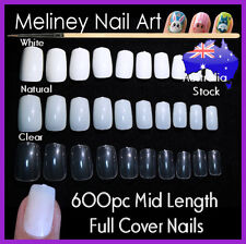 100/600pc Mid Length Full Cover Square Short False Fake Nail Tips nails Meliney