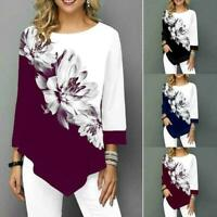 Ladies Asymmetric Floral Print Tops Blouse Long Sleeve Loose Shirt T Tunic V9B2