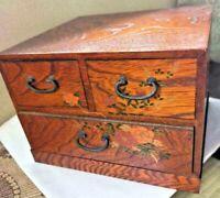 DRAWER WOOD TANSU CHEST MEIJI OLD JAPANESE ANTIQUE Storage Box Handmade Japan 28