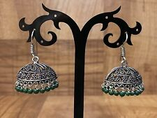 New Indian Pakistani Ethnic Bollywood Green Oxidised Silver Jhumki Earring Bali