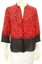 Akris Punto Red & Black Wool Print Button Up Blouse Size US 12