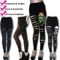 Banned Apparel Women's Slashed Black Zombie Gothic Emo Punk Rockabilly Leggings
