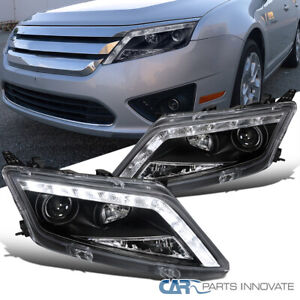 For 10-12 Ford Fusion Black LED Front Driving Head Lamps Projector Headlights