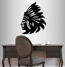 Vinyl Decal Indian Man Native American with Head Dress Chief Wall Sticker 445