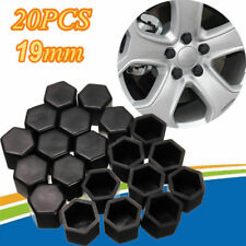 20pcs 19mm Silica Gel Black Car Wheel Nuts Covers Protector Bolt Hub Valve Caps