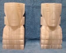 Rare Alabaster Marble Tiki Bookends 9 1/2 Inch Tall 9 1/2 #S Each Hand Carved