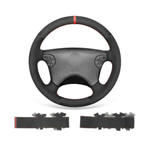 Black Suede Non-slip Car Steering Wheel Cover Wrap For Mercedes Benz W208 C208