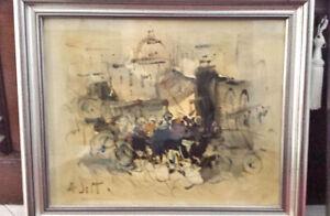 Grande quadro dipinto olio Alvaro Danti Livorno 60x50 autografato retro SIENA