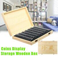 Holz Münzen Aufbewahrungsbox Halter Münzenhlater für Sammelmünze mit 100 Kapseln