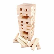 "Stacking Tumbling Tumble Wooden Blocks 9"" Tower 60pce Family Jenga Party GAME"