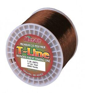 "Mason ""T-LINE"" Premium Co-Polymer Mono Line 1lb Spool Soft-Brown 4lb - 30lb Test"