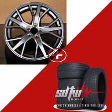 """21"""" 1332 Sq7 Style Wheels Gunmetal Machine With Tires Fits Audi A7 S7 A8 S8 Rims"""
