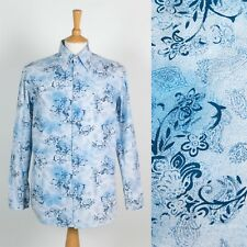 MENS RETRO STYLE PAISLEY PATTERN SHIRT BIG COLLAR MOD INDIE WELLER SCOOTER S