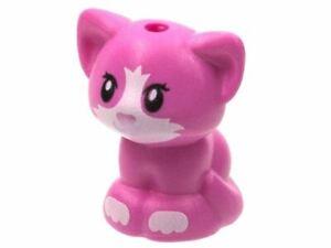 LEGO Friends Baby Cat Kitten Sitting Animal Minifigure (Dark Pink)