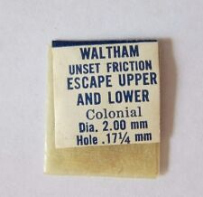 Waltham Colonial Escape Upper And Lower Jewel Unset Friction Watch Part J54 Nos