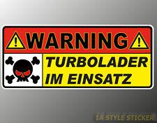 Warning Turbo Aufkleber 4 Zylinder turbo tdi vr6 Turbo vw 2.0 Turbo opc d16