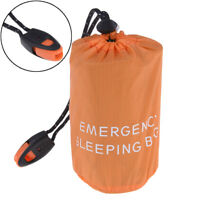 Reusable Emergency Sleeping Bag Waterproof Survival Camping Travel Bag & WhistGD