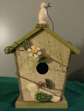 Decorative Wood BirdHouse Indoor/Outdoor Hang Or Stand Door On Back For Use
