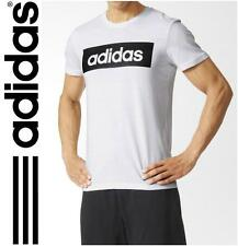 New adidas Linear Logo Mens Cotton Crew T-Shirt top - S to 2XL  White