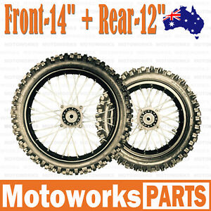 """80/100 - 12"""" + 60/100 - 14"""" Inch Front Rear Back Wheel PIT PRO Trail Dirt Bike S"""