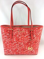 New Authentic Michael Kors Floral Jet Set Travel Medium Carryall Tote DK Sangria