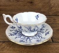 Coalport White and Cobalt Blue Birds Cup and Saucer England c.1950