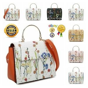 New Women's Square Shape Top Handle Hand Bag With Embroidered Floral Pattern