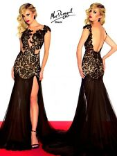 61041R Black MacDuggal Lace Gown Party Evening Formal Dress Prom Size USA 2