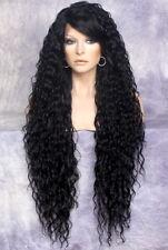 "38"" Long Human Hair Blend Lace Front Wig wavy Heat OK Jet Black  WESP 1"