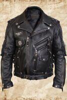 Harley Davidson Swat II Genuine Leather Vest Zippered Motorbike Caf\u00e9 Racer Black