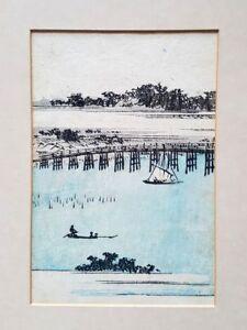 JAPANESE ART PRINTS 10CM X 15CM MANNEN BRIDGE BY HIROSHIGE PRINTED IN 1850'S