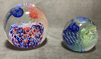 2 Beautiful Rare Caithness Glass Paperweights Luscious Lashes & Weaver
