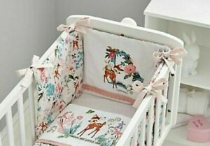 Disney Bambi Cot Bumper 100% Cotton Baby Safety Bedding Girls Pink Breathable