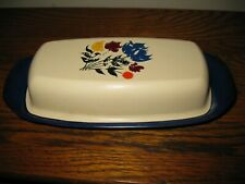 Vintage Country Floral 1 stick Butter Dish mid century mod Blue & Beige
