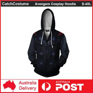 Avengers Endgame Thor Cosplay Hoodie Jacket Costume 3D Hooded Zipper Sweatshirt